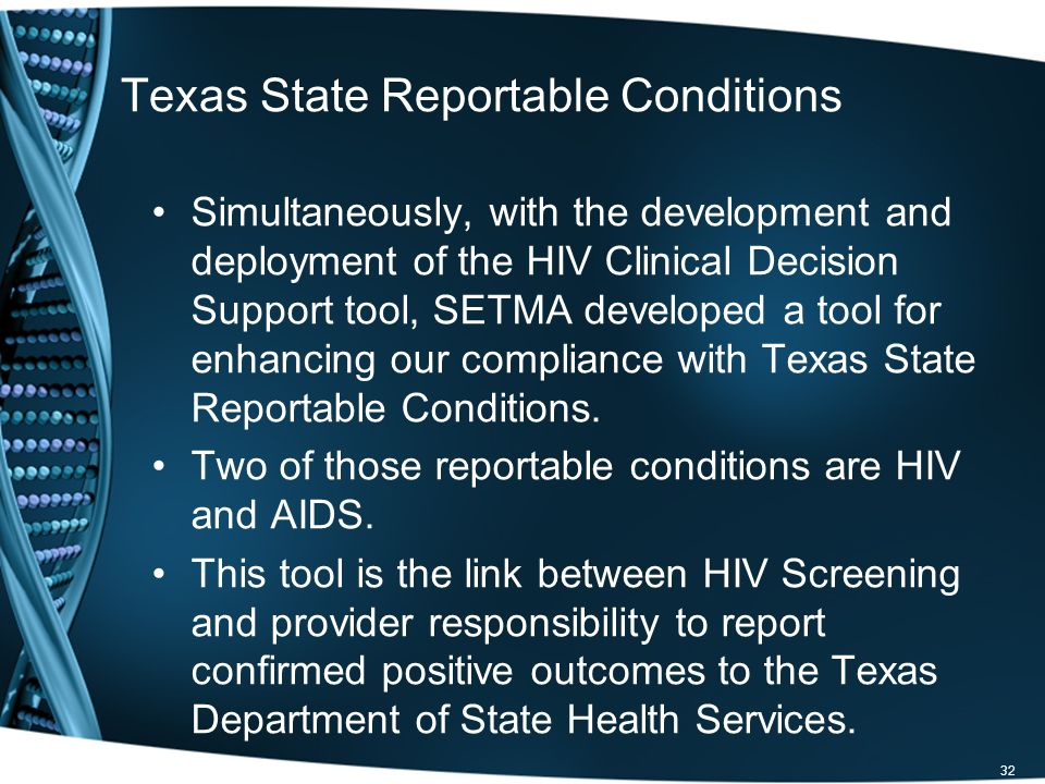 Simultaneously, with the development and deployment of the HIV Clinical Decision Support tool, SETMA developed a tool for enhancing our compliance wit