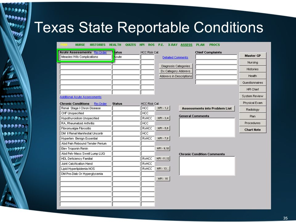 35 Texas State Reportable Conditions