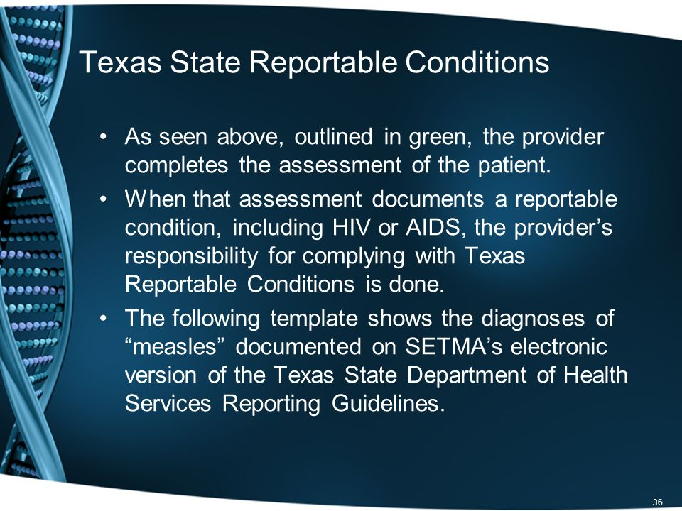As seen above, outlined in green, the provider completes the assessment of the patient. When that assessment documents a reportable condition, includi