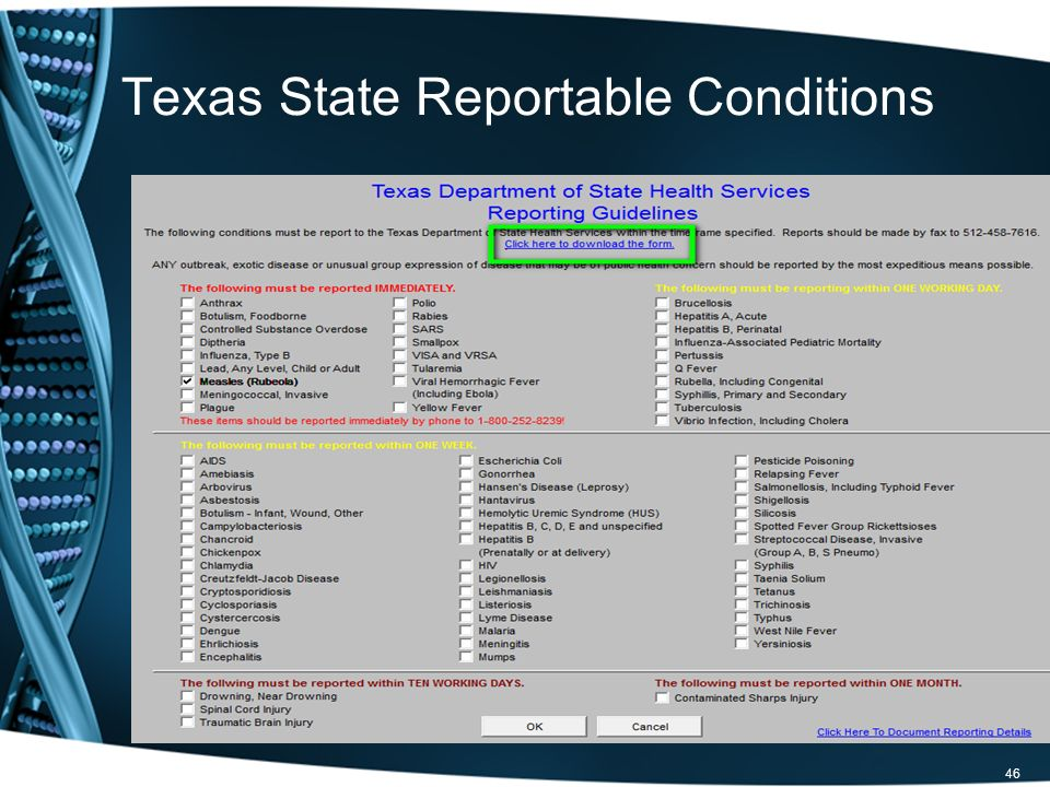 46 Texas State Reportable Conditions