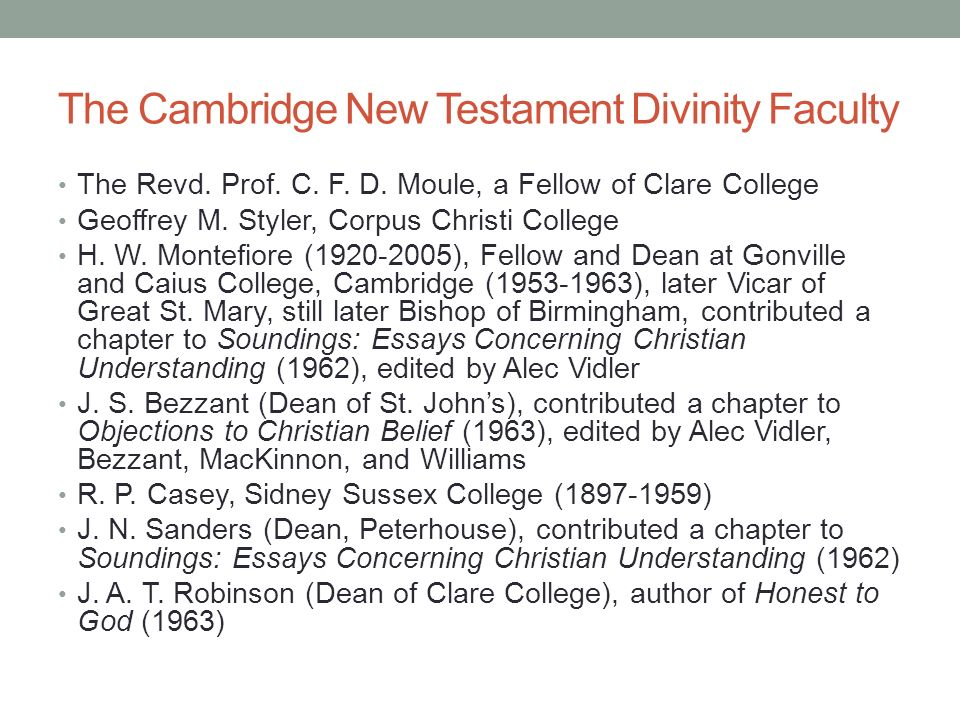 The Cambridge New Testament Divinity Faculty The Revd.