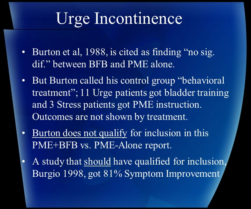 Urge Incontinence Burton et al, 1988, is cited as finding no sig.