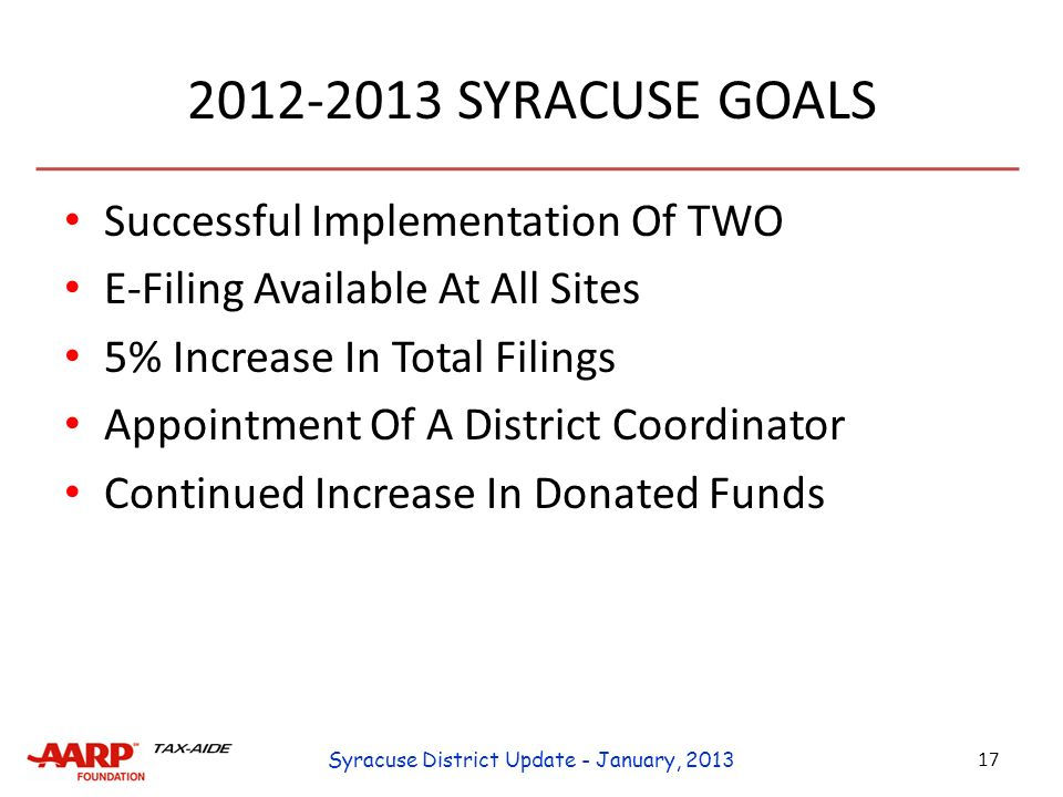 SYRACUSE GOALS Successful Implementation Of TWO E-Filing Available At All Sites 5% Increase In Total Filings Appointment Of A District Coordinator Continued Increase In Donated Funds 17 Syracuse District Update - January, 2013
