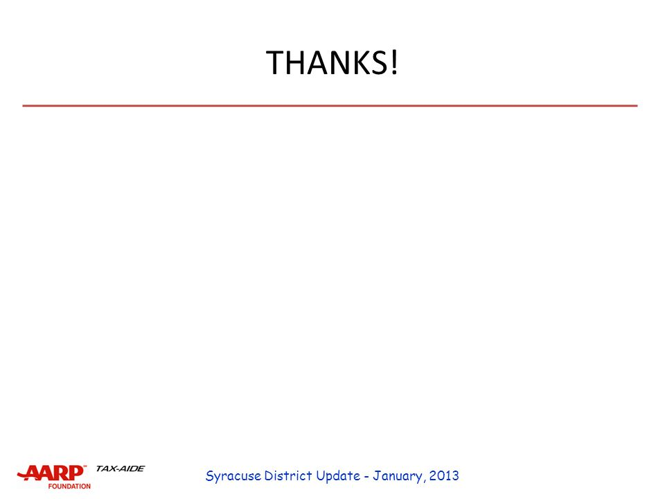 THANKS! Syracuse District Update - January, 2013