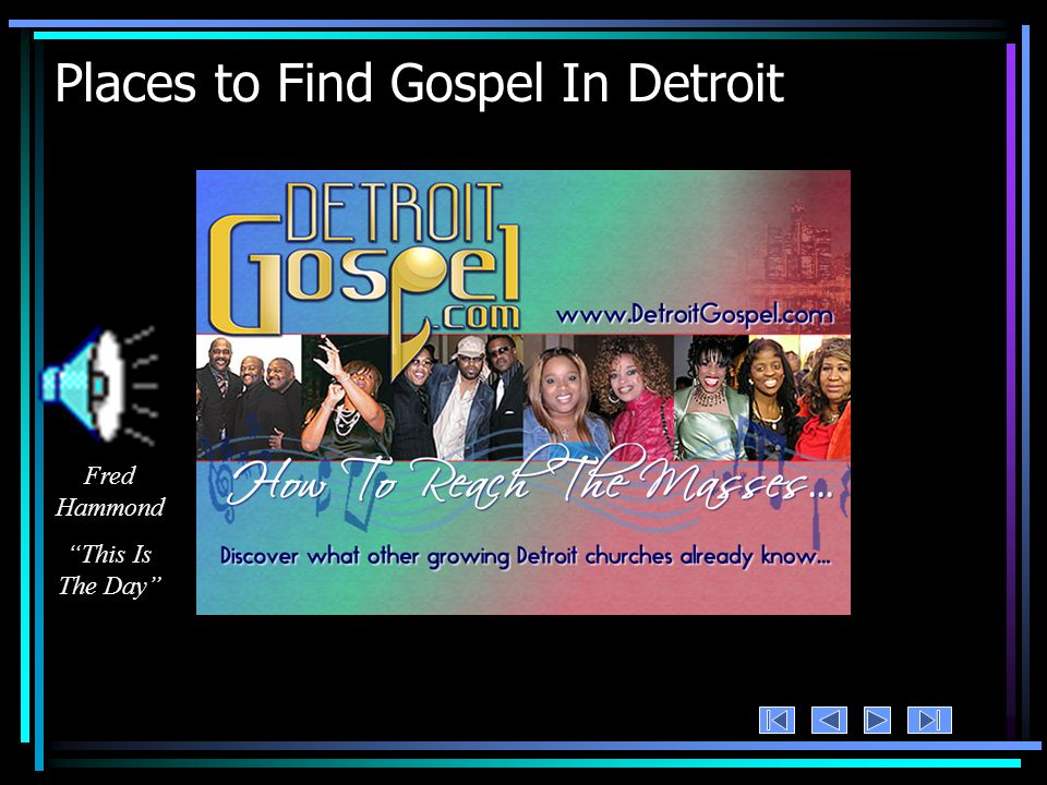 Places to Find Gospel In Detroit Fred Hammond This Is The Day