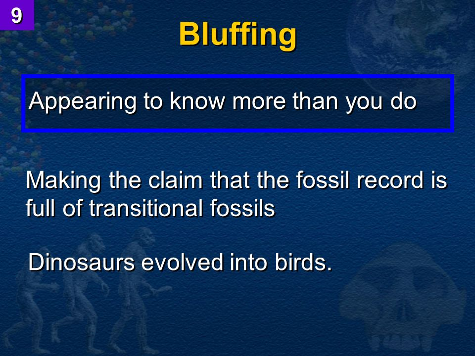 Bluffing Appearing to know more than you do Making the claim that the fossil record is full of transitional fossils Dinosaurs evolved into birds. 9 9