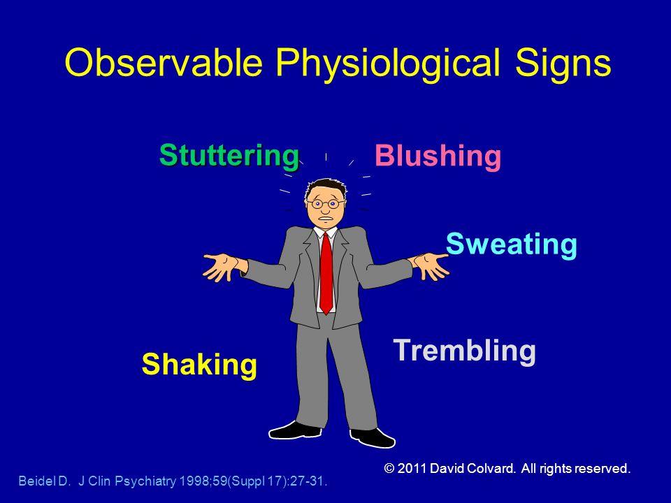 Observable Physiological Signs Beidel D. J Clin Psychiatry 1998;59(Suppl 17):27-31. Blushing Sweating Trembling Shaking Stuttering © 2011 David Colvar