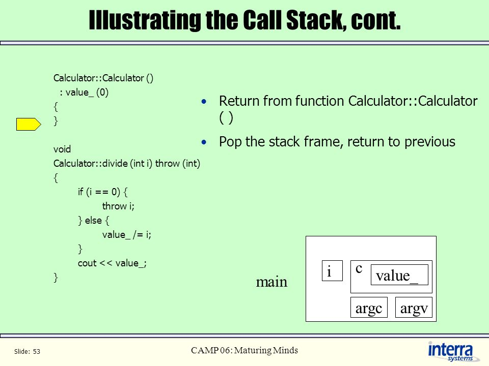 Slide: 53 CAMP 06: Maturing Minds Illustrating the Call Stack, cont. Calculator::Calculator () : value_ (0) { } void Calculator::divide (int i) throw