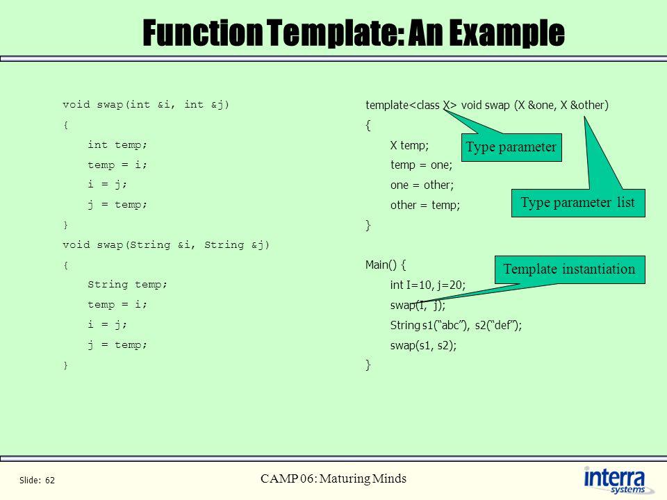 Slide: 62 CAMP 06: Maturing Minds template void swap (X &one, X &other) { X temp; temp = one; one = other; other = temp; } Main() { int I=10, j=20; sw