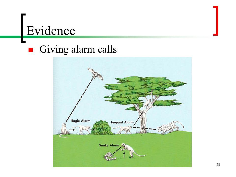 Evidence Giving alarm calls 15