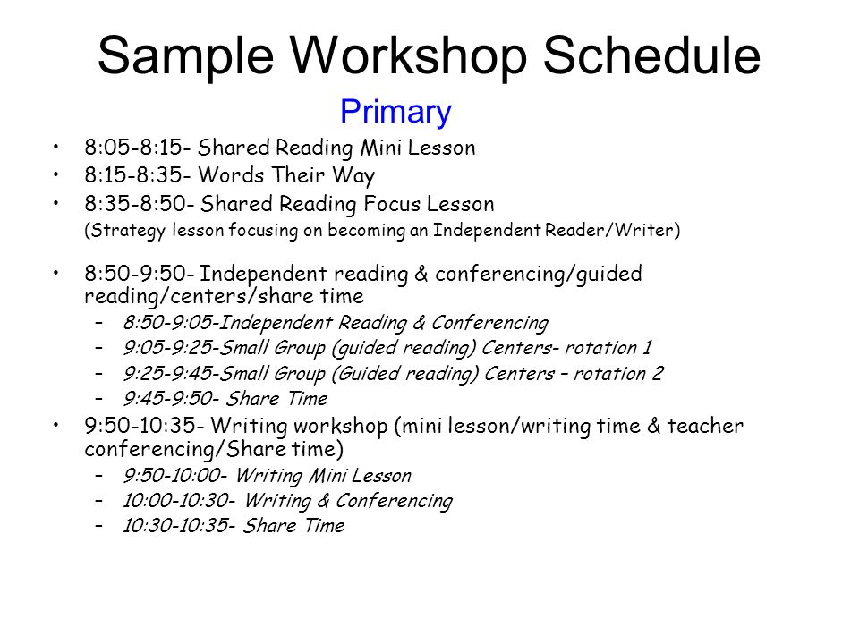 Sample Workshop Schedule Primary 8:05-8:15- Shared Reading Mini Lesson 8:15-8:35- Words Their Way 8:35-8:50- Shared Reading Focus Lesson (Strategy les