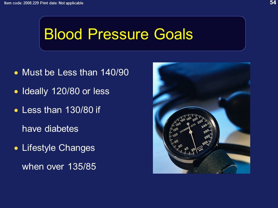 54 Item code: 2008.229 Print date: Not applicable Blood Pressure Goals Must be Less than 140/90 Ideally 120/80 or less Less than 130/80 if have diabetes Lifestyle Changes when over 135/85