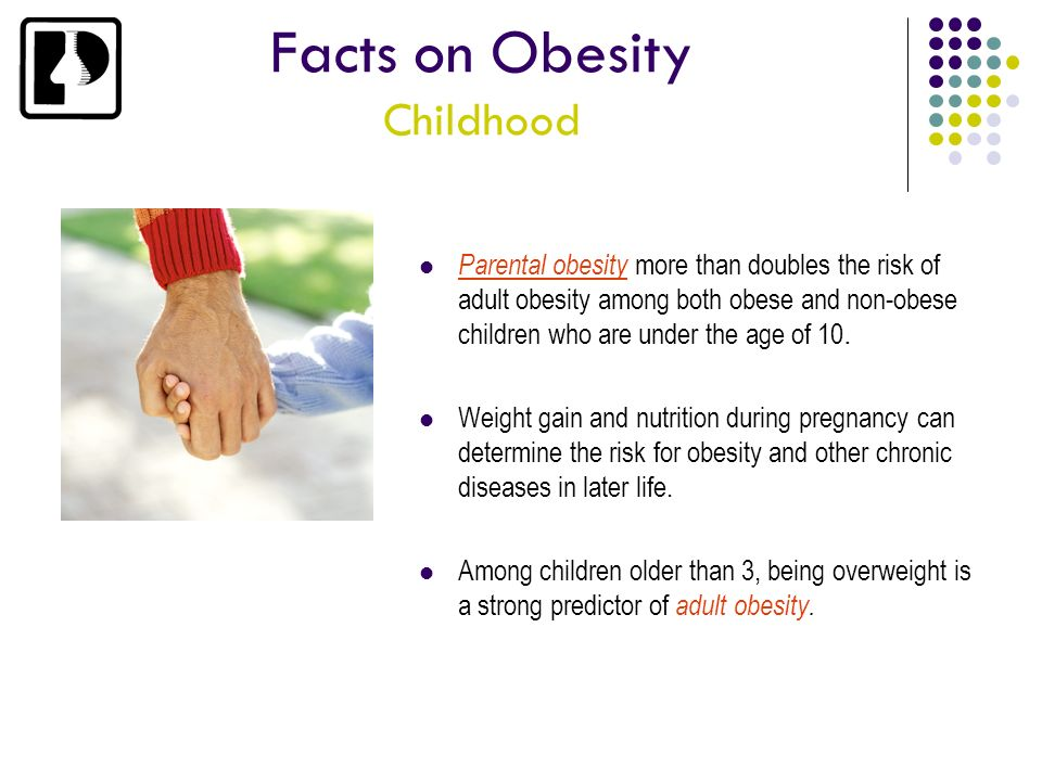 Facts on Obesity Childhood Parental obesity more than doubles the risk of adult obesity among both obese and non-obese children who are under the age
