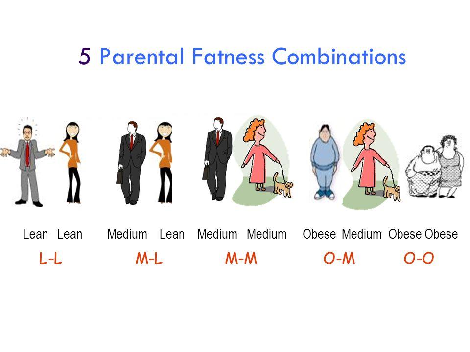 5 Parental Fatness Combinations Lean Lean Medium Lean Medium Medium Obese Medium Obese Obese L-LM-LM-MO-MO-O