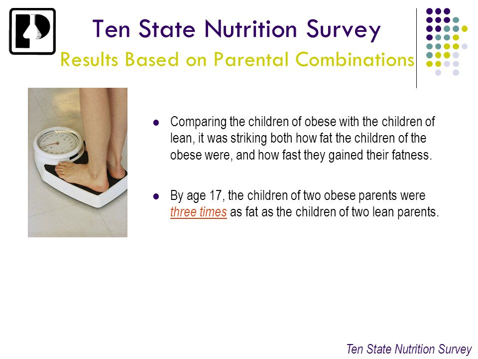 Ten State Nutrition Survey Results Based on Parental Combinations Comparing the children of obese with the children of lean, it was striking both how