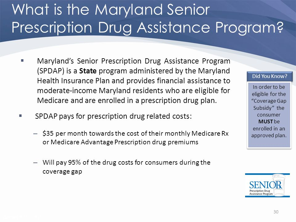 Revised 02/02/2011 What is the Maryland Senior Prescription Drug Assistance Program.