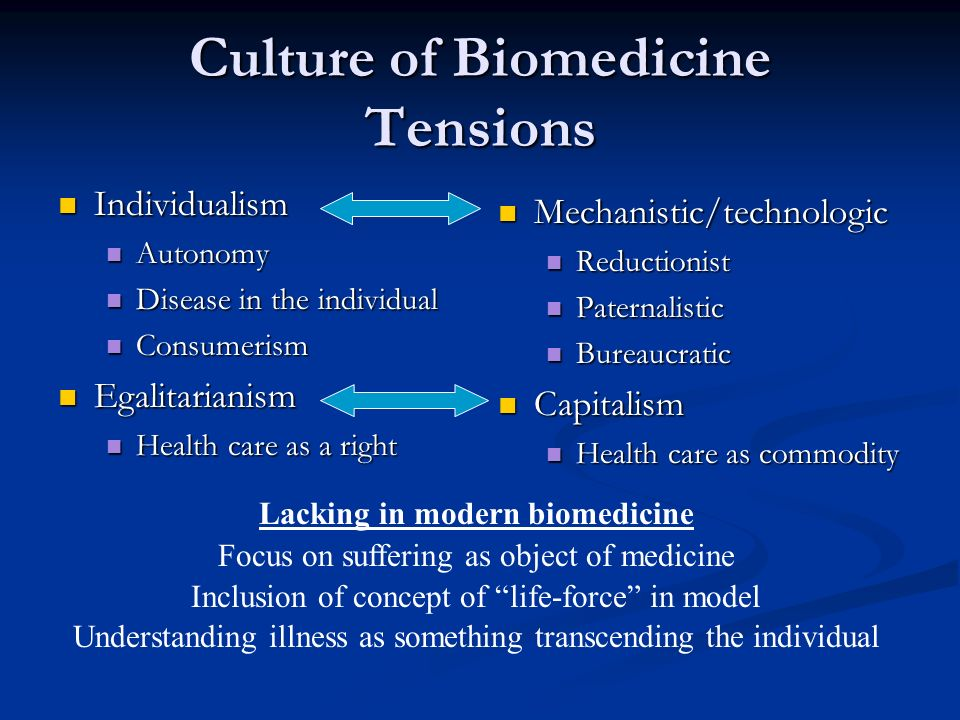 Culture of Biomedicine Tensions Individualism Individualism Autonomy Autonomy Disease in the individual Disease in the individual Consumerism Consumerism Egalitarianism Egalitarianism Health care as a right Health care as a right Mechanistic/technologic Reductionist Paternalistic Bureaucratic Capitalism Health care as commodity Lacking in modern biomedicine Focus on suffering as object of medicine Inclusion of concept of life-force in model Understanding illness as something transcending the individual