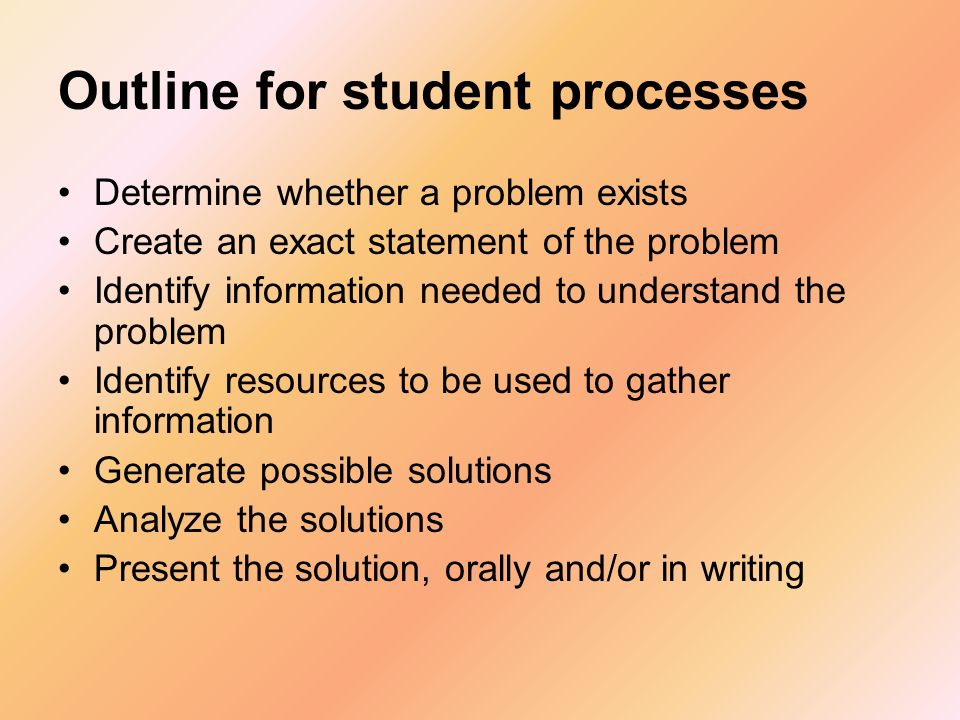 Outline for student processes Determine whether a problem exists Create an exact statement of the problem Identify information needed to understand th
