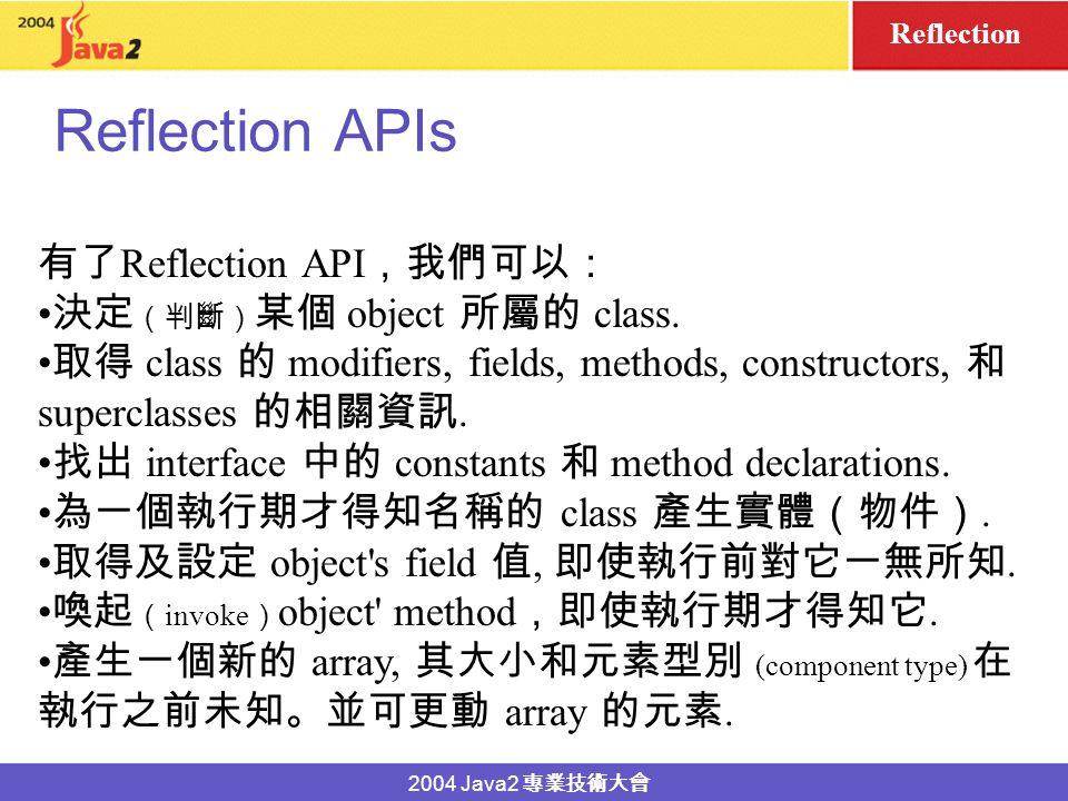 2004 Java2 Reflection Test.class disk Test class definition (Class object for Test class) dynamic loading by class loader (a ClassLoader object) virtual machine environment class JRE immutable Class object class.
