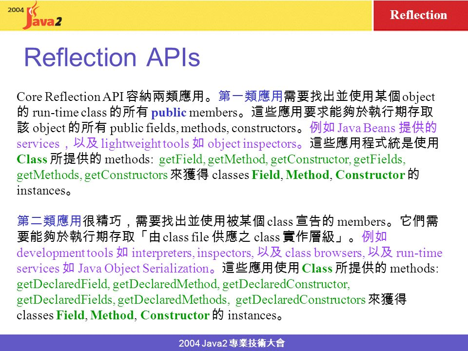 2004 Java2 Reflection APIs Reflection Reflection API object class.