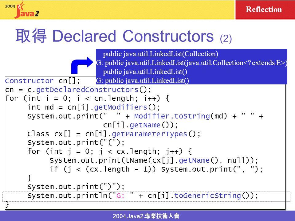 2004 Java2 Declared Constructors (1) Consructor[] getDeclaredConstructors() Consructor[] getDeclaredConstructors() public class LinkedList... { public
