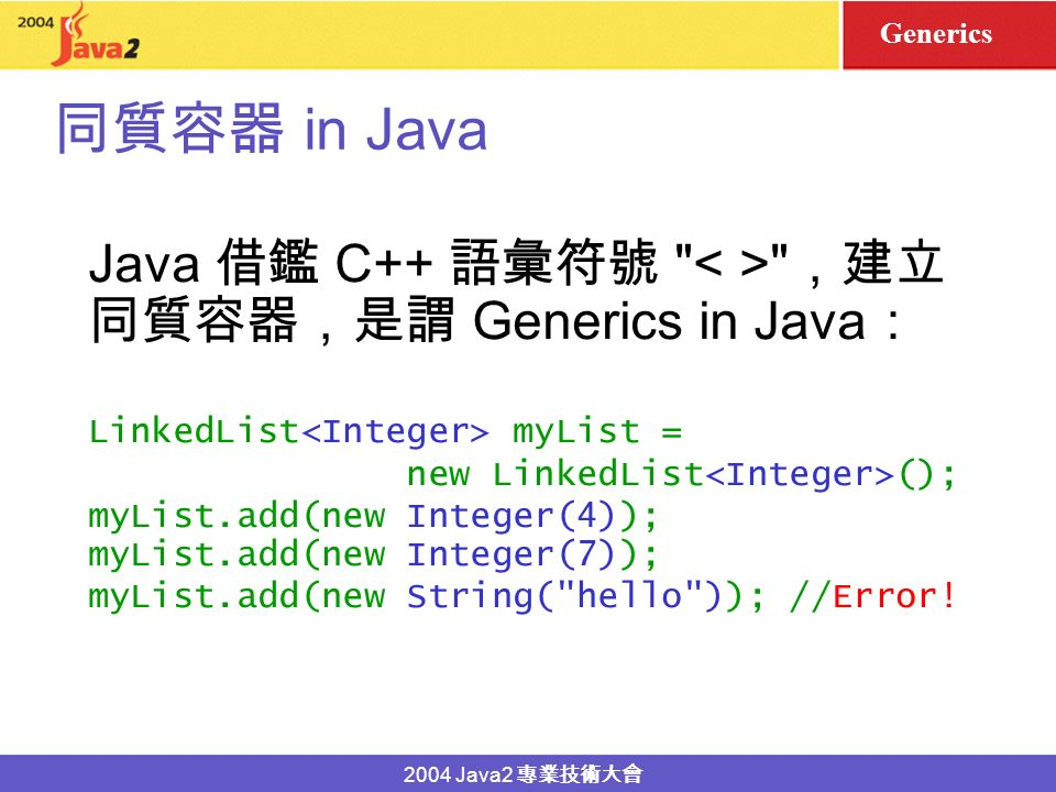 2004 Java2 (homogenous) (heterogenous) C++ STL list myList; myList.push_back(3); Java Collections LinkedList myList = new LinkedList(); myList.add(new Double(4.4)); myList.add(new String( jjhou )); int -list Object Generics