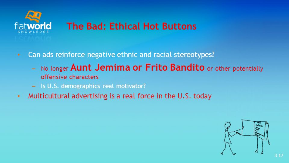 3-17 The Bad: Ethical Hot Buttons Can ads reinforce negative ethnic and racial stereotypes? – No longer Aunt Jemima or Frito Bandito or other potentia