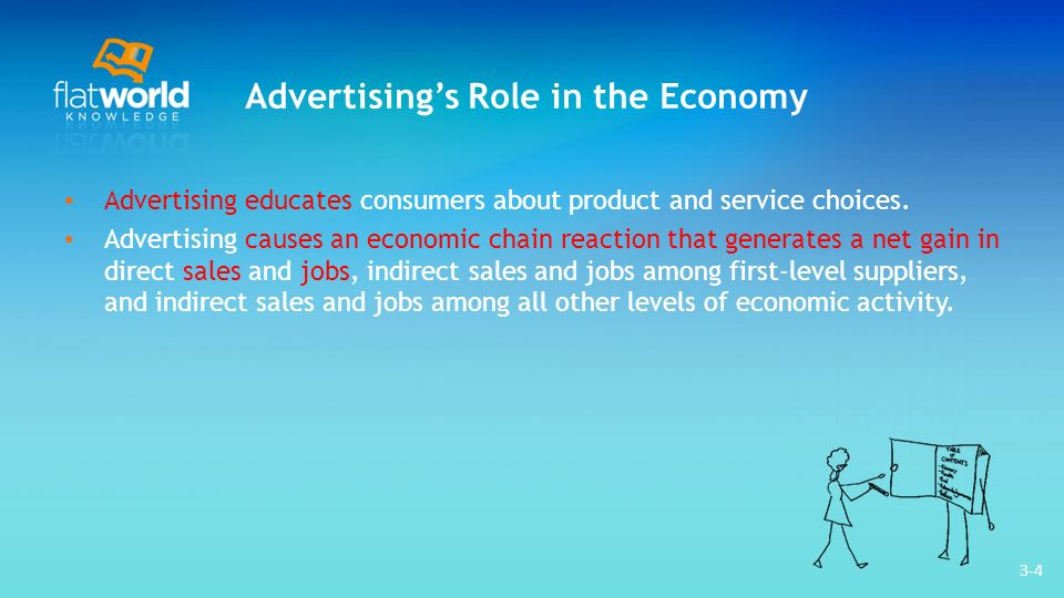 3-4 Advertisings Role in the Economy Advertising educates consumers about product and service choices. Advertising causes an economic chain reaction t
