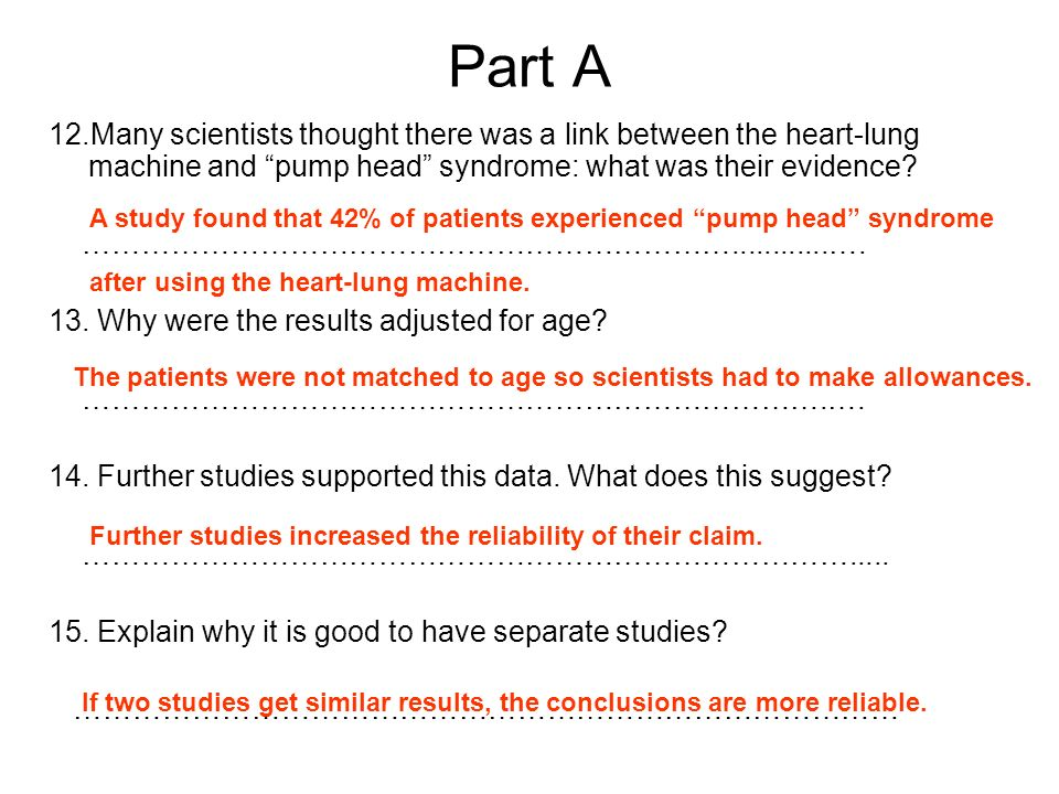 Part A 12.Many scientists thought there was a link between the heart-lung machine and pump head syndrome: what was their evidence? …………………………………………………