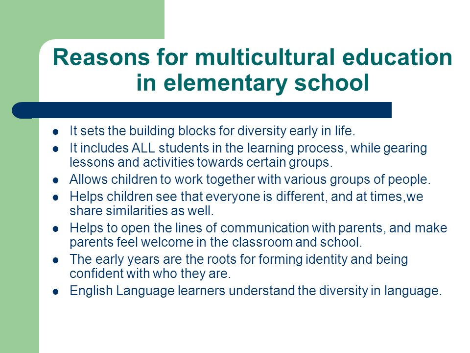 Reasons for multicultural education in elementary school It sets the building blocks for diversity early in life.
