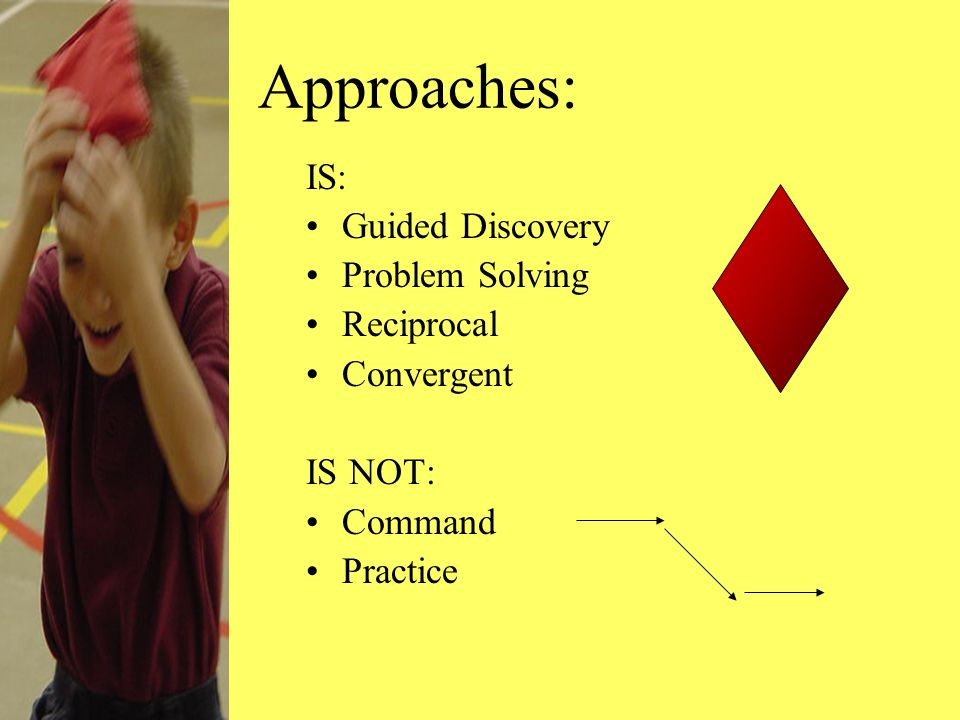 Approaches: IS: Guided Discovery Problem Solving Reciprocal Convergent IS NOT: Command Practice