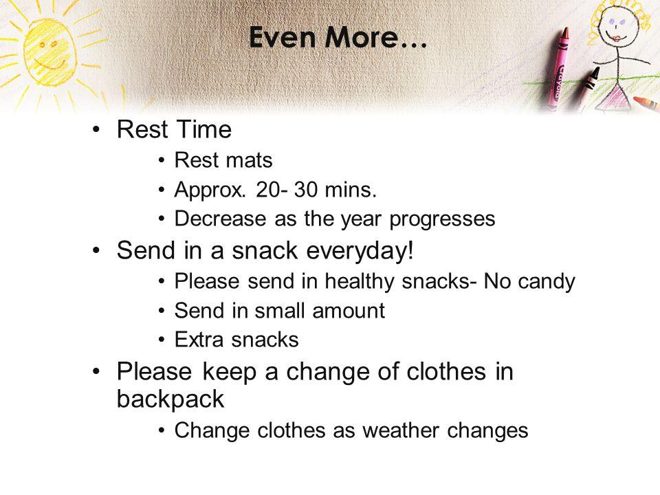 Even More… Rest Time Rest mats Approx.20- 30 mins.