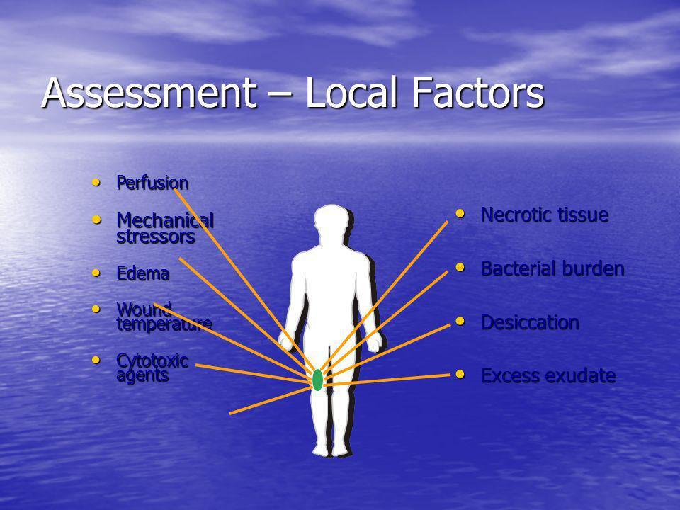 Assessment – Local Factors Perfusion Perfusion Mechanical stressors Mechanical stressors Edema Edema Wound temperature Wound temperature Cytotoxic age