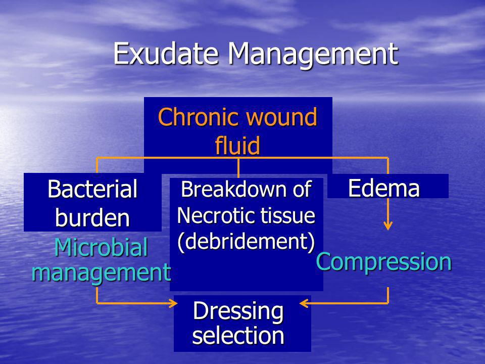 Exudate Management Exudate Management Chronic wound fluid Breakdown of Necrotic tissue (debridement) Microbial management Compression Edema Bacterial
