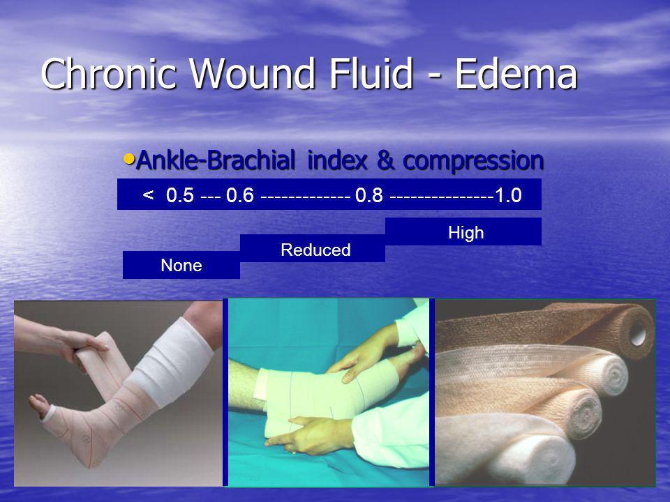 Chronic Wound Fluid - Edema Ankle-Brachial index & compression Ankle-Brachial index & compression < 0.5 --- 0.6 ------------- 0.8 ---------------1.0 N