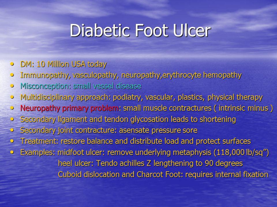 Diabetic Foot Ulcer Diabetic Foot Ulcer DM: 10 Million USA today DM: 10 Million USA today Immunopathy, vasculopathy, neuropathy,erythrocyte hemopathy