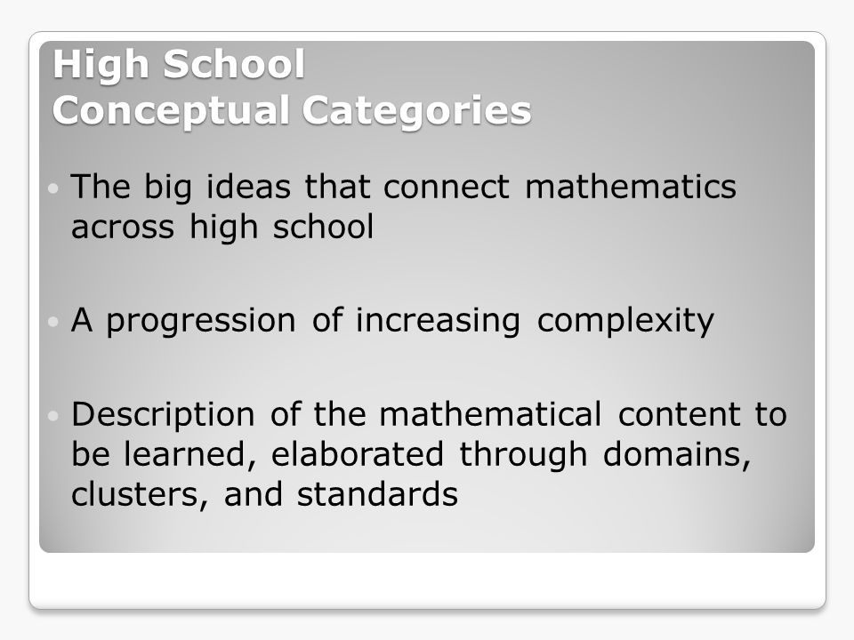 High School Conceptual Categories Number & Quantity Algebra Functions Modeling Geometry Statistics & Probability