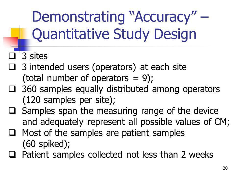 20 Demonstrating Accuracy – Quantitative Study Design 3 sites 3 intended users (operators) at each site (total number of operators = 9); 360 samples e