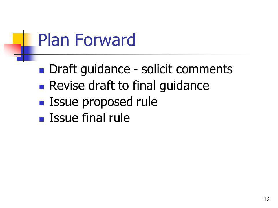 43 Plan Forward Draft guidance - solicit comments Revise draft to final guidance Issue proposed rule Issue final rule