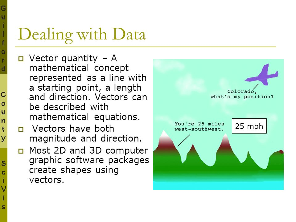Dealing with Data Vector quantity – A mathematical concept represented as a line with a starting point, a length and direction. Vectors can be describ