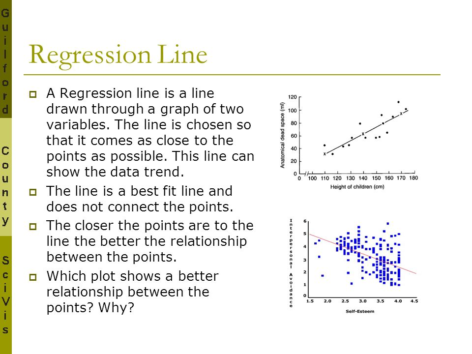 Regression Line A Regression line is a line drawn through a graph of two variables. The line is chosen so that it comes as close to the points as poss