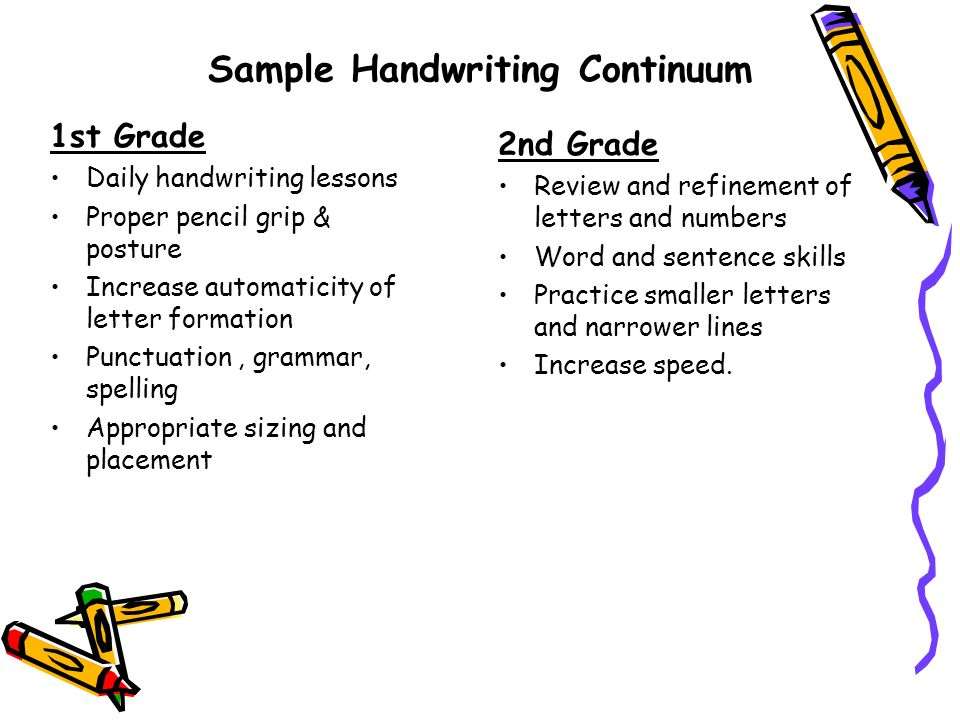 Sample Handwriting Continuum 1st Grade Daily handwriting lessons Proper pencil grip & posture Increase automaticity of letter formation Punctuation, g