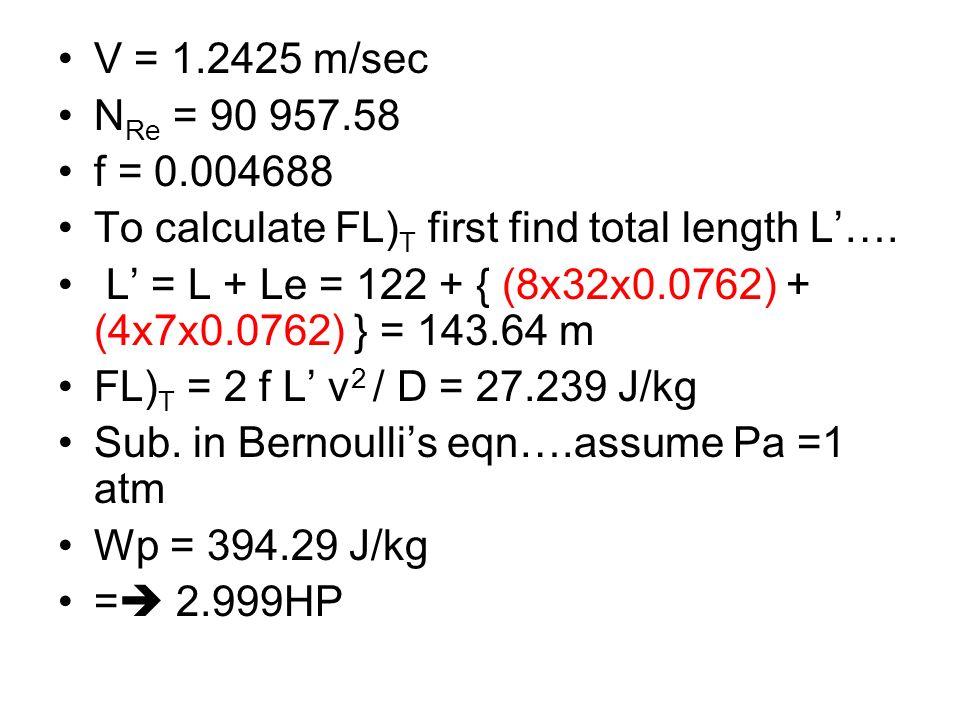 V = 1.2425 m/sec N Re = 90 957.58 f = 0.004688 To calculate FL) T first find total length L…. L = L + Le = 122 + { (8x32x0.0762) + (4x7x0.0762) } = 14