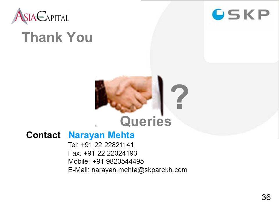 36 Contact Narayan Mehta Tel: +91 22 22821141 Fax: +91 22 22024193 Mobile: +91 9820544495 E-Mail: narayan.mehta@skparekh.com Queries ? Thank You