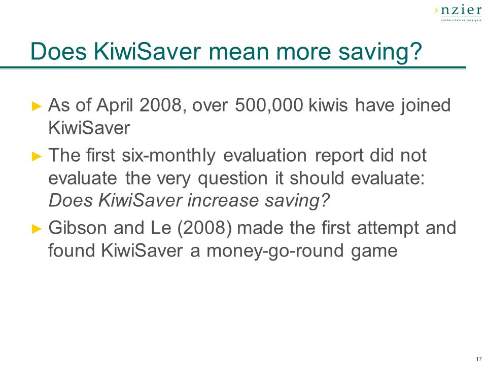 17 Does KiwiSaver mean more saving.