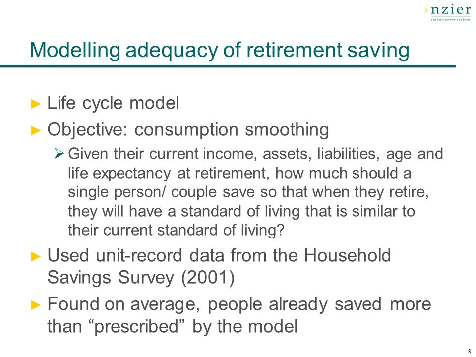 9 Modelling adequacy of retirement saving Life cycle model Objective: consumption smoothing Given their current income, assets, liabilities, age and life expectancy at retirement, how much should a single person/ couple save so that when they retire, they will have a standard of living that is similar to their current standard of living.