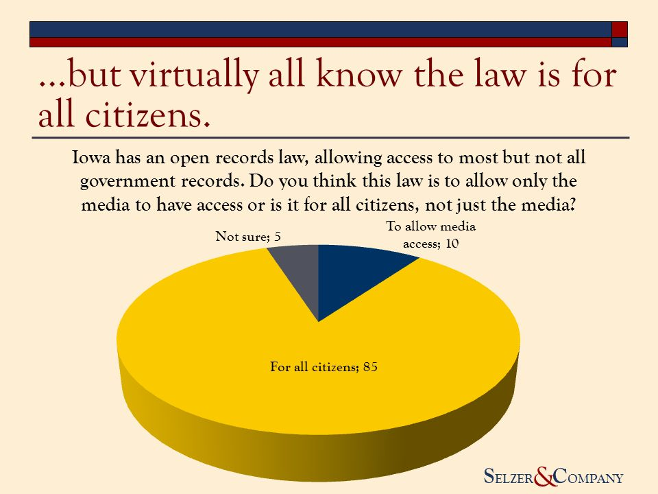 S ELZER C OMPANY & …but virtually all know the law is for all citizens.