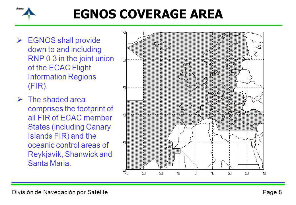 Page 8División de Navegación por Satélite EGNOS COVERAGE AREA EGNOS shall provide down to and including RNP 0.3 in the joint union of the ECAC Flight