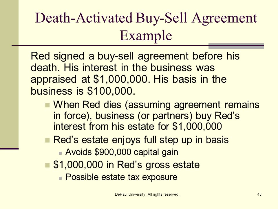 Death-Activated Buy-Sell Agreement Example Red signed a buy-sell agreement before his death. His interest in the business was appraised at $1,000,000.