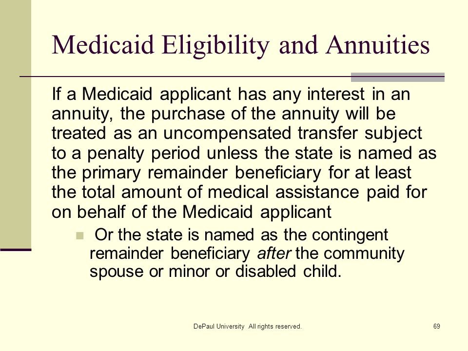 Medicaid Eligibility and Annuities If a Medicaid applicant has any interest in an annuity, the purchase of the annuity will be treated as an uncompens